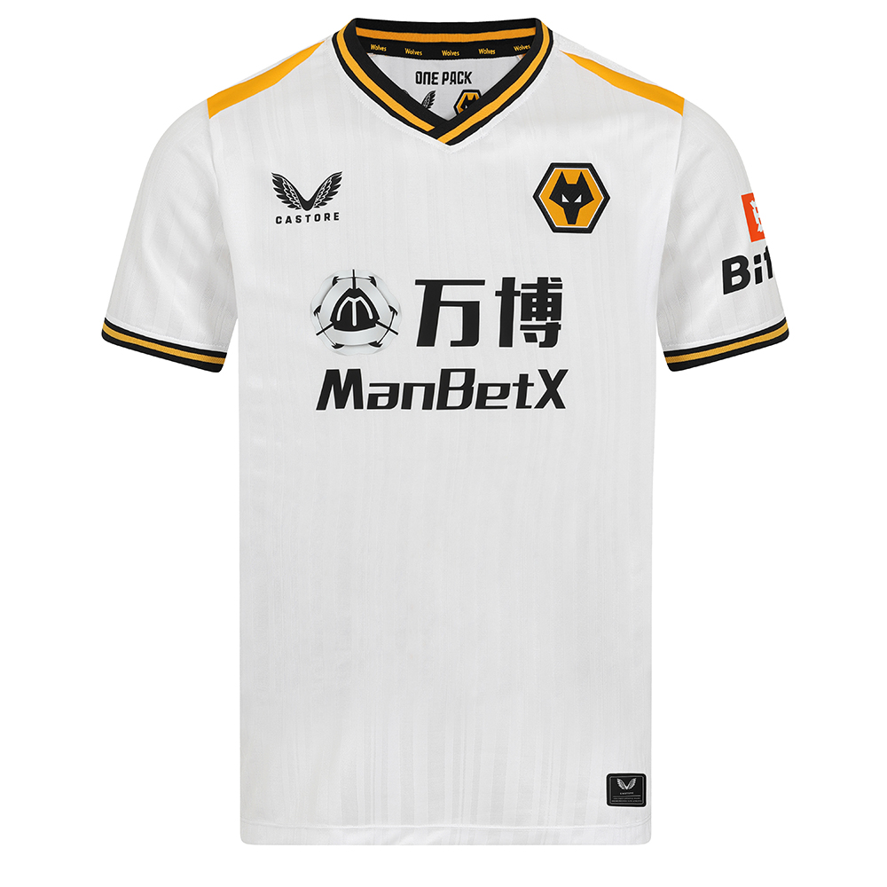 2021-22 Wolves Pro 3rd Shirt - AdultBe Part of the Pack with the 2021-22 Wolves Pro Third Shirt, as worn by the players during the 2021-22 season.A modern retro kit for the team taking styling details at the rib neckline and cuffs linking to a perfect way to do a nod back to the late 80'sThe matte shine jacquard on the pro in clean white makes this kit clean modern and the pops of the Wolves Gold in panels and branding makes this a true wolves kit.Matte/shine white jacquard knit fabric on body and sleeves with contrast Wolves gold shoulder panels.Features striped rib collar and cuffs and lazer cut holes to front and back panelCastore authentication tab on RHS corner hem.Main body: 60% Recycled Polyester, 40% Polyester. Underarm mesh: 100% recycled polyester