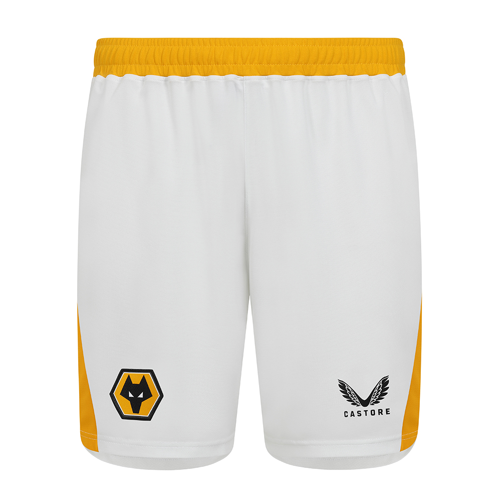 2021-22 Wolves Pro 3rd Short - AdultBe Part Of the Pack, with the 2021-22 Wolves Third Short and show your pride on the streets and in the stands.Main body is made from pique knit fabric , improving breathability.Contrast Wolves gold side panels and waistbandFeatures Wolves coloured crest and Castore logo on legsDrawcord waistband finished with Castore branded tips.100% recycled polyester