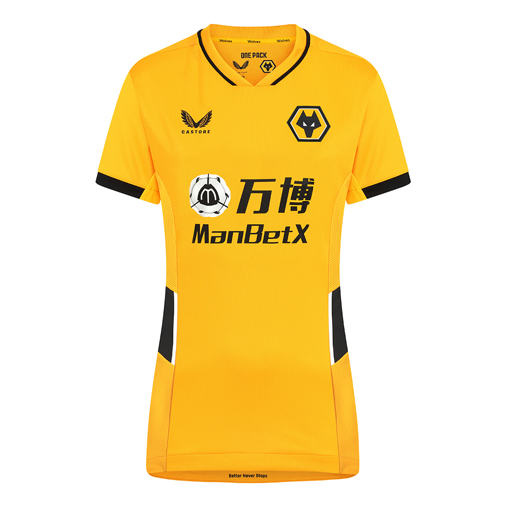 2021-22 Wolves Home Shirt - WomensBe Part Of the Pack, with the 2021-22 Wolves Home Shirt in Womens cut and fit and show your pride on the street and in the stands. Featuring detailed colour matching and dyeing to be true Wolves Gold and bring it back home to the club and fans.A matte shine fabric to the reverse emulates flow and movement on the pitch. Contrast colour side panels for a modern impactful look.100% Polyester