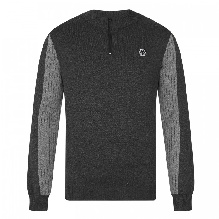 Ripple Sleeve Contrast Quarter Zip Sweater