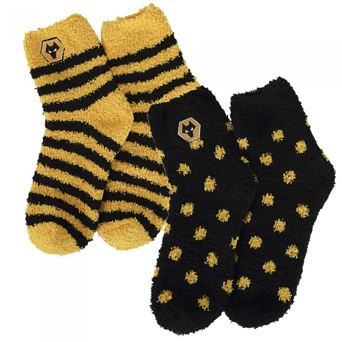 Twin Pack Soft Sleepsock Blk/Gold