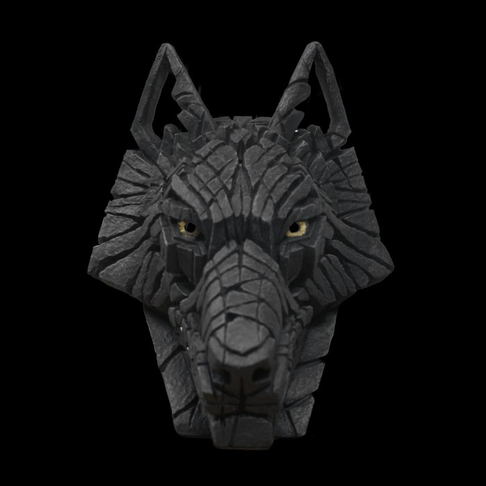 Black wolf head sculpture